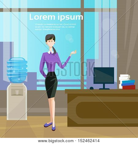 Business Woman In Office Workplace, Businesswoman Workspace Interior Flat Vector Illustration