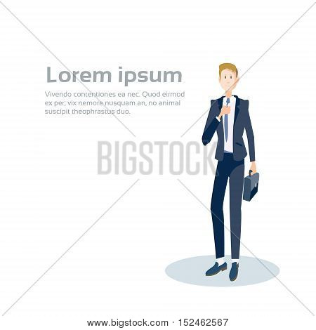 Business Man Manager Hold Suitcase, Businessman Formal Wear Banner With Copy Space Flat Vector Illustration