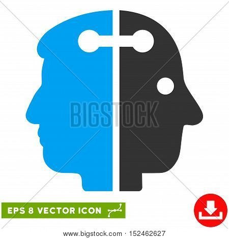 Dual Head Connection EPS vector pictograph. Illustration style is flat iconic bicolor blue and gray symbol on white background.