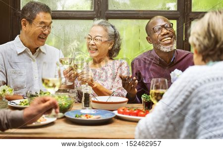 Group of Senior Retirement Meet up Happiness Concept
