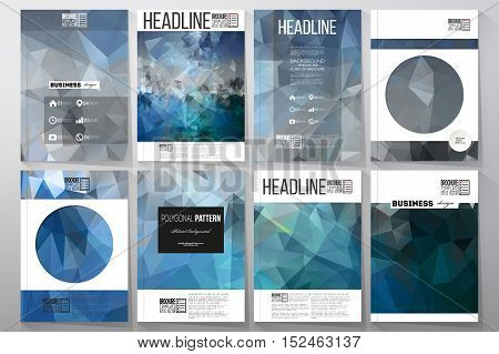 Set of business templates for brochure, flyer or booklet. Abstract blue polygonal background, colorful backdrop, modern stylish vector texture.