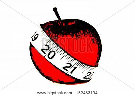 Red apple with a tape measure. Diet concept. Illustration