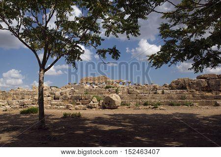 Ruins Of Greek Acropolis Of Selinunte In Sicily Italy.