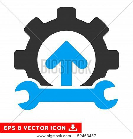 Gear Integration Tools EPS vector pictogram. Illustration style is flat iconic bicolor blue and gray symbol on white background.