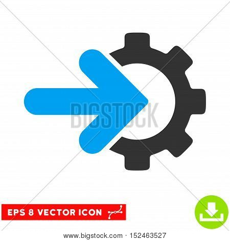 Gear Integration EPS vector pictograph. Illustration style is flat iconic bicolor blue and gray symbol on white background.