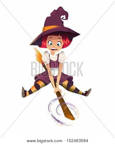 vector illustration of scared witch flying on broom. little young girl character. white background. magic sparcle. happy halloween