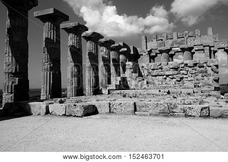 Interior Of Greek Temple Of Selinunte In Black And White Sicily Italy