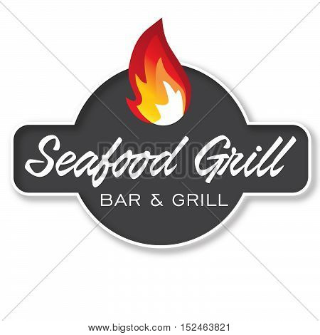 Seafood Grill Design Element Logotype, Label, Badge Fire flame vector illustration.