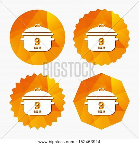 Boil 9 minutes. Cooking pan sign icon. Stew food symbol. Triangular low poly buttons with flat icon. Vector
