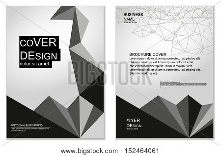 Polygonal black and white flyer and brochure cover design. Business templates for web sites, prints, covers and identity design. Geometric abstract backgrounds.