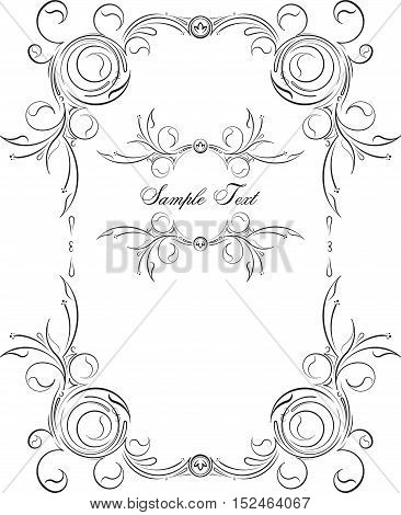 Pair Of Unusual, Decorative Lace Ornament, Vintage Frame With Empty Place For Your Text. Vector Illu