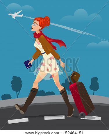 Illustration of traveling woman holding passport. cute girl with suitcase goes to the airport.