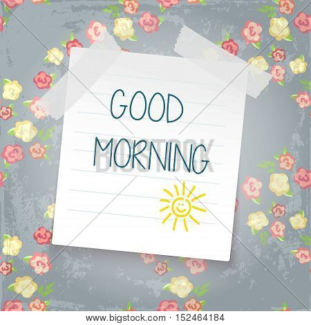 note paper on color background. good mornig. sun doodle. shabby chic style