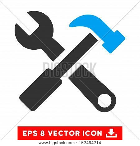 Hammer and Wrench EPS vector pictograph. Illustration style is flat iconic bicolor blue and gray symbol on white background.