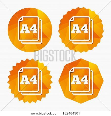 Paper size A4 standard icon. File document symbol. Triangular low poly buttons with flat icon. Vector