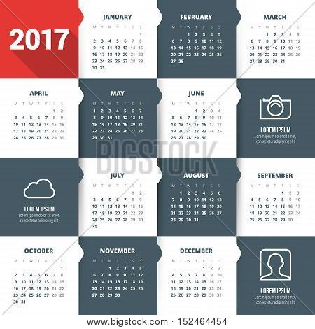 Calendar For 2017 Year. Vector Design Stationery Template With Business Concept Icons. Week Starts M