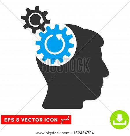 Head Cogs Rotation EPS vector pictograph. Illustration style is flat iconic bicolor blue and gray symbol on white background.