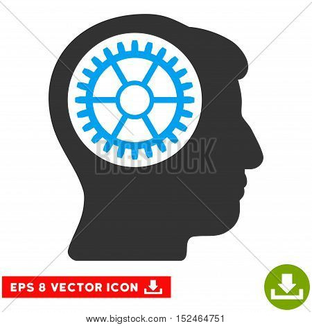 Head Cogwheel EPS vector pictograph. Illustration style is flat iconic bicolor blue and gray symbol on white background.