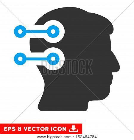 Head Connectors EPS vector pictograph. Illustration style is flat iconic bicolor blue and gray symbol on white background.