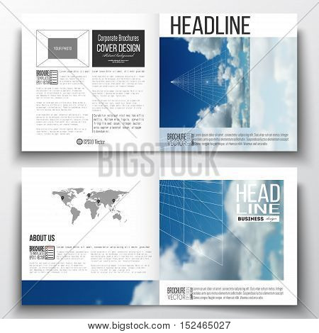 Set of square design brochure template. Beautiful blue sky, abstract geometric background with white clouds, leaflet cover, business layout, vector illustration.