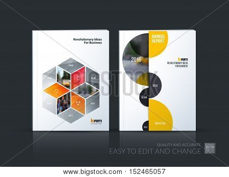 Brochure template layout collection, cover design annual report, magazine, flyer in A4 with grey rhombus, rectangle for business, flower style. Abstract vector design set with half circles.