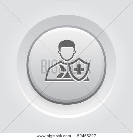 Accident Insurance Icon. Grey Button Design. Isolated Illustration. A man with a bandage on his hand and a shield with a cross in front.