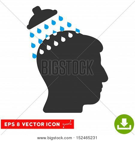Head Shower EPS vector icon. Illustration style is flat iconic bicolor blue and gray symbol on white background.
