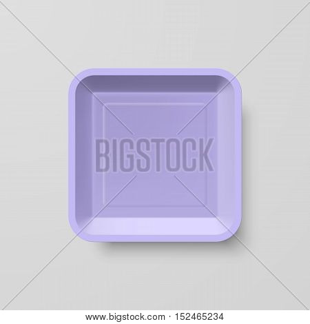 Empty Purple Plastic Food Square Container on Gray Background