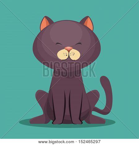 cute kitti gray sit icon vector illustration eps 10