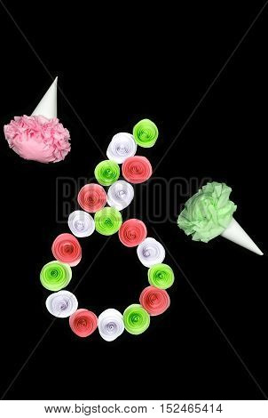 Decorative figure of six lined paper flowers