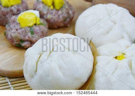 Homemade Steamed pork buns. (soft focus,lens blur) Thai style pork buns.