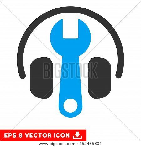 Headphones Tuning Wrench EPS vector pictograph. Illustration style is flat iconic bicolor blue and gray symbol on white background.