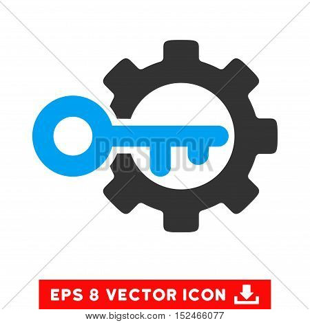Key Options EPS vector pictograph. Illustration style is flat iconic bicolor blue and gray symbol on white background.