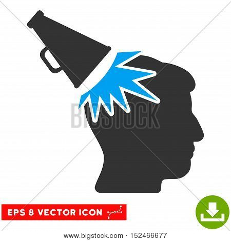Megaphone Impact Head EPS vector pictograph. Illustration style is flat iconic bicolor blue and gray symbol on white background.