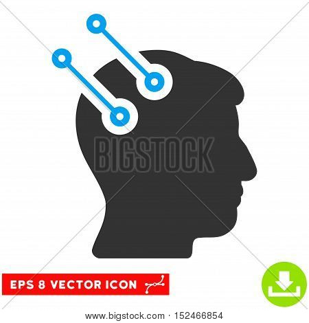Neural Interface Connectors EPS vector icon. Illustration style is flat iconic bicolor blue and gray symbol on white background.