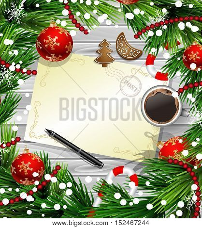 Christmas New Year design wooden background with christmas decorations candy canes snow and balls arranged in a frame with empty wich list or blank card a cup of coffee gingerbread cookies and a pen in red.