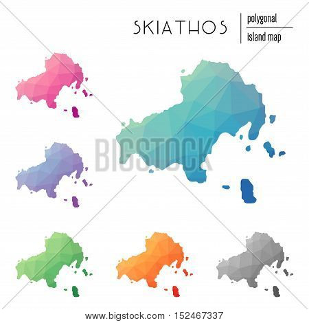 Set Of Vector Polygonal Skiathos Maps Filled With Bright Gradient Of Low Poly Art. Multicolored Isla