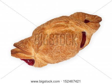 Sweet Puff Pastry Bun With Cherry Jam, Isolated On White Background, Close-up, Top View.