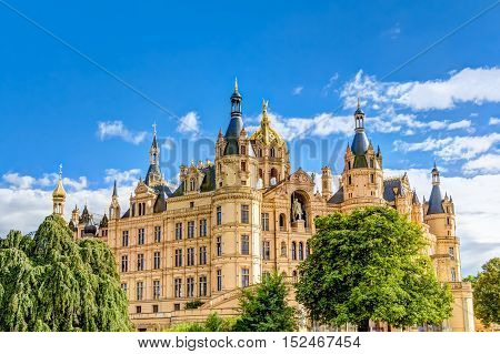 Schwerin Palace in romantic Historicism architecture style located in the city of Schwerin Germany