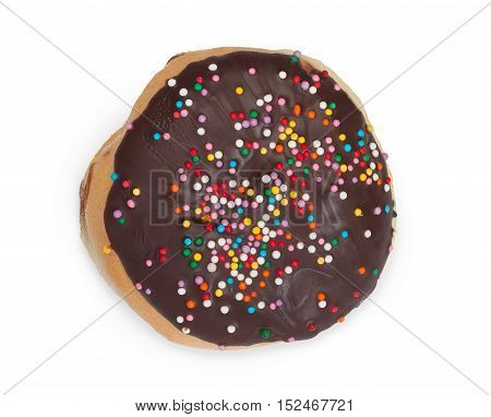 Donut With Chocolate Icing And Sprinkles. Isolated On White Background, Close-up, Top View.