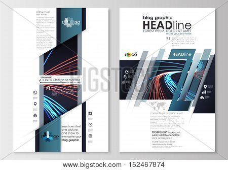 Blog graphic business templates. Page website design template, easy editable, abstract flat layout. Abstract lines background with color glowing neon streams, motion design vector.