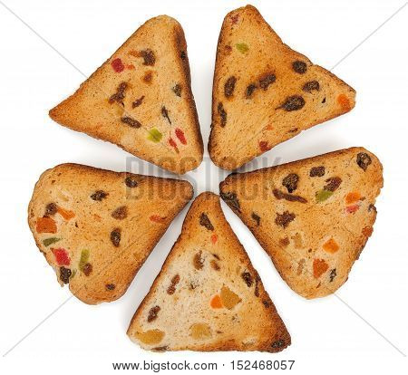 Rusks With Candied Fruit, Isolated On A White Background, Close-up, Top View.