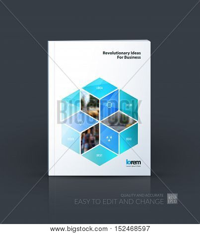 Brochure template layout, cover design annual report, magazine, flyer in A4 with turquoise rhombus, rectangle for business and consulting, construction concept. Abstract vector design.