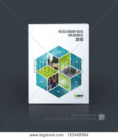 Brochure template layout, cover design annual report, magazine, flyer in A4 with rhombus, rectangle for business and consulting, construction concept. Abstract vector design.