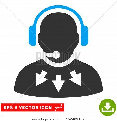 Operator Message EPS vector icon. Illustration style is flat iconic bicolor blue and gray symbol on white background.