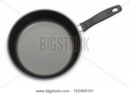 Black Frying Pan Isolated On White Background, Close-up, Top View.