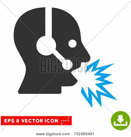 Operator Shout EPS vector pictogram. Illustration style is flat iconic bicolor blue and gray symbol on white background.