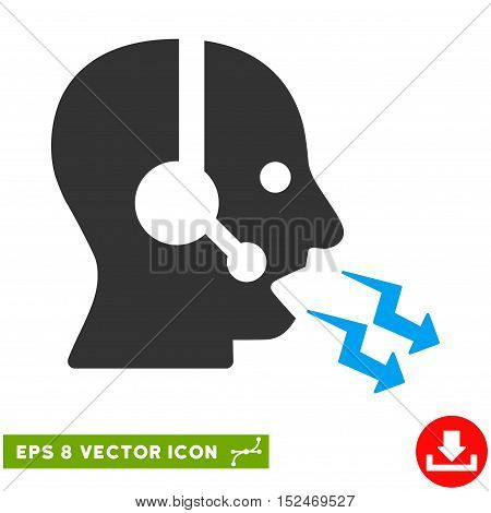Operator Shout EPS vector icon. Illustration style is flat iconic bicolor blue and gray symbol on white background.