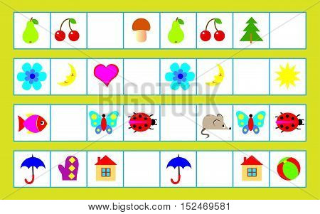 Logic puzzle for children - need to find regularity and draw the correct objects in empty squares. Vector image.