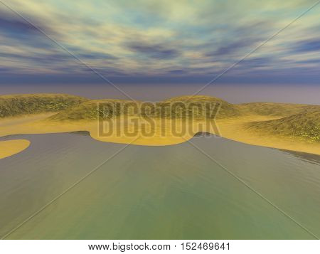Coast golden sands with gray clouds, 3D illustration